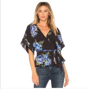Yumi Kim blue floral wrap top